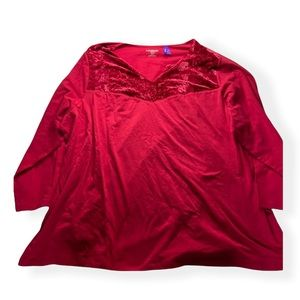 Catherines Red Short Sleeved Plus Size Blouse 2XWP